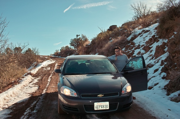 從Peach Springs到大峽谷的WRC級路面。好不容易完成了艱難的路段,當然也是要留影紀念一下。